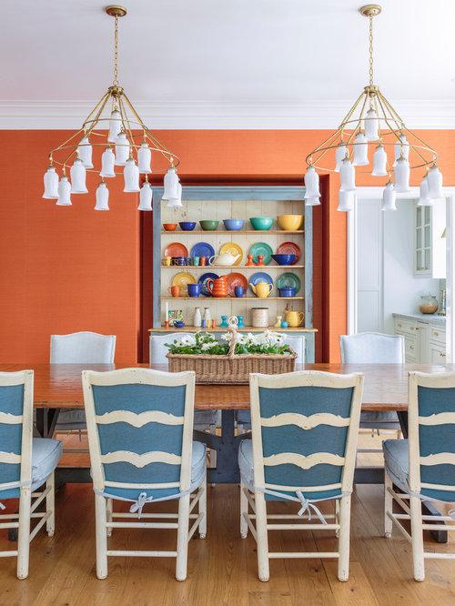 Sala da pranzo in campagna con pareti arancioni foto idee arredamento - Pareti sala da pranzo ...