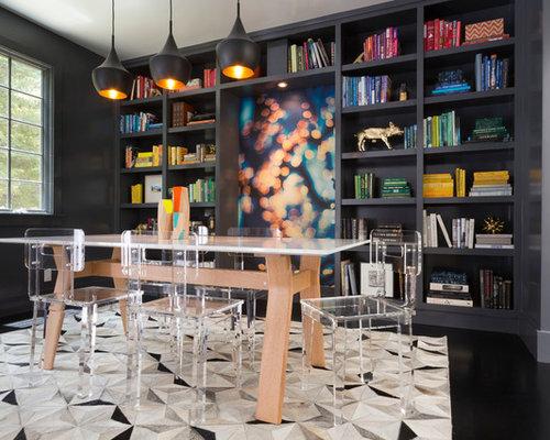 Bookshelf In Living Room. Example of a mid sized trendy dark wood floor and black dining room  design Living Room Bookshelf Houzz