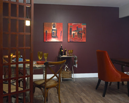 Small dining room design ideas remodels photos with red for Dining room ideas with red walls
