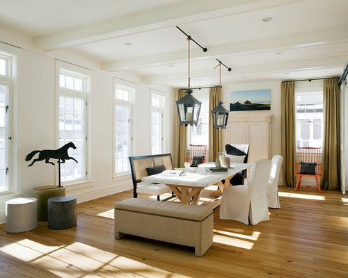Beach Style Medium Tone Wood Floor Dining Room Idea In Boston With White  Walls Part 19