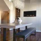 Dining Room With Custom Concrete Table Contemporary