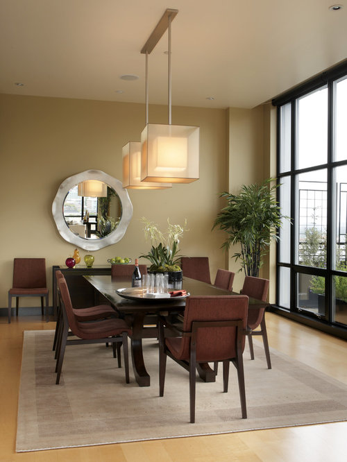 Modern Light Wood Floor Dining Room Idea In Portland With Beige Walls Part 12