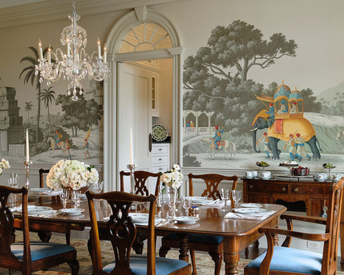 traditional dining room tables. Ornate enclosed dining room photo in New York with multicolored walls Traditional Dining Room Furniture  Houzz