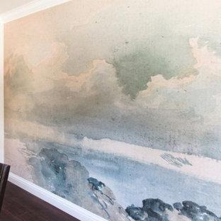 Inspiration för mellanstora klassiska separata matplatser, med vita väggar, vinylgolv och brunt golv