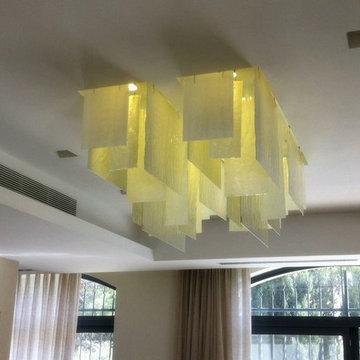 CONTEMPORARY CUSTOM RECTANGULAR GLASS CHANDELIER, PLISS`E custom chandelier by G