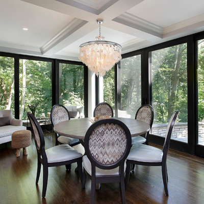 Trendy dining room photo in Other with gray walls