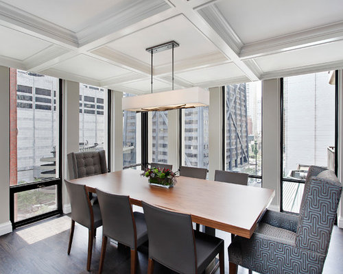 Inspiration For A Contemporary Dining Room Remodel In Chicago With Gray  Walls