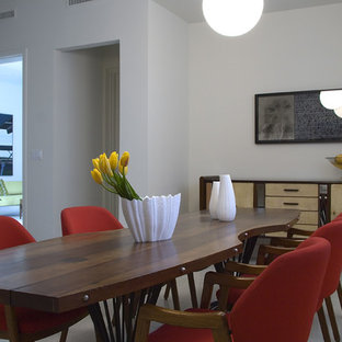 Example Of A Trendy Kitchen Dining Room Combo Design In Miami With White Walls