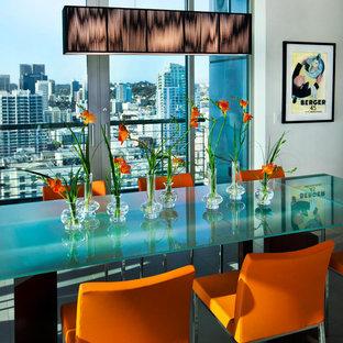 Idee per una sala da pranzo contemporanea con pareti bianche