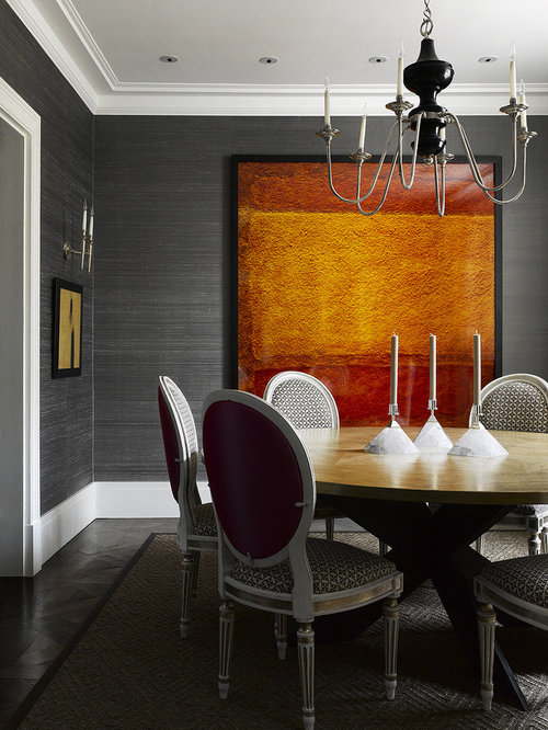 trendy dining room photo in philadelphia with gray walls and dark hardwood floors