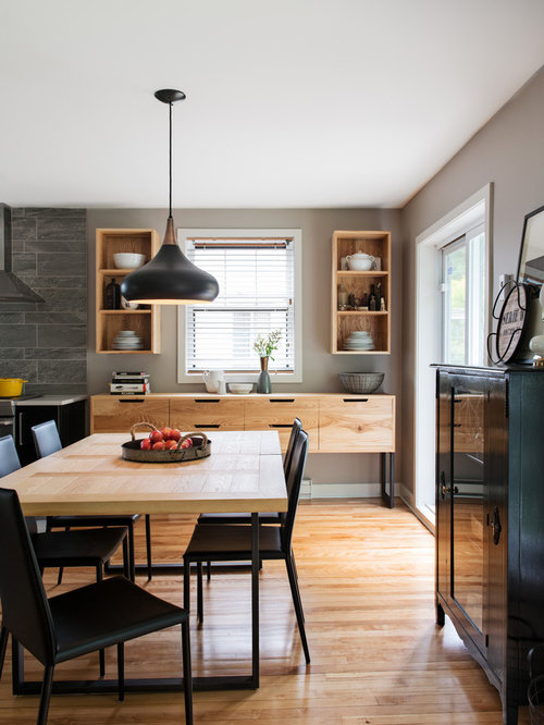 Contemporary dining room idea in Montreal with gray walls. Simple Dining Room   Houzz
