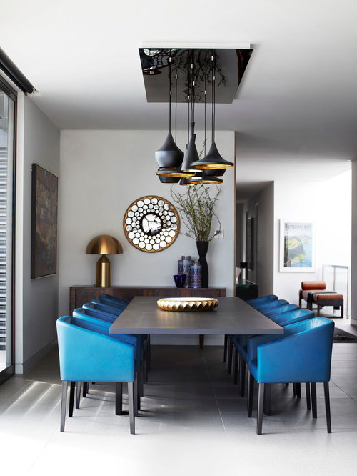 Inspiration For A Contemporary Dining Room Remodel In Melbourne With White  Walls