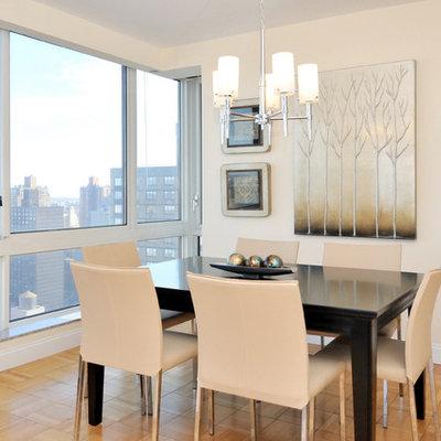 Dining room - contemporary medium tone wood floor dining room idea in New York with beige walls