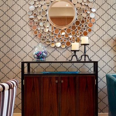 Trendy medium tone wood floor dining room photo in Other