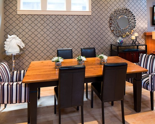 Inspiration For A Contemporary Dining Room Remodel In Other With  Multicolored Walls And Medium Tone Hardwood