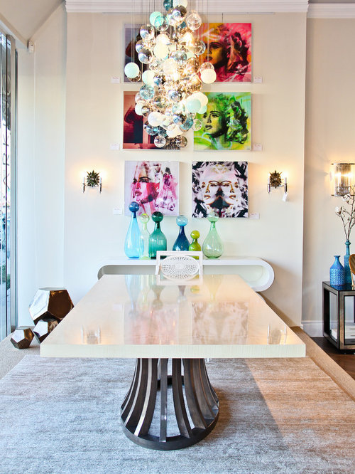 Trendy Dining Room Photo In Los Angeles With White Walls