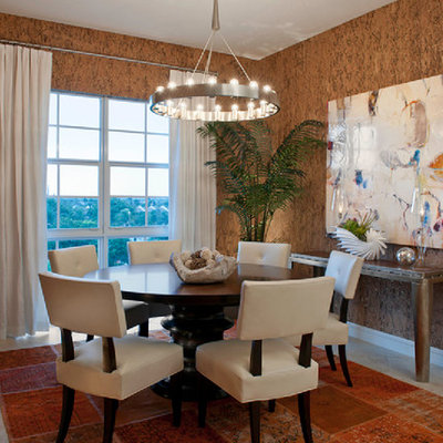 Trendy dining room photo in Miami with brown walls
