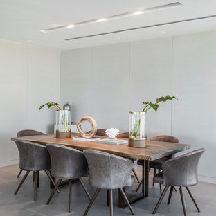Dining room - contemporary gray floor dining room idea in Miami with gray walls and no fireplace