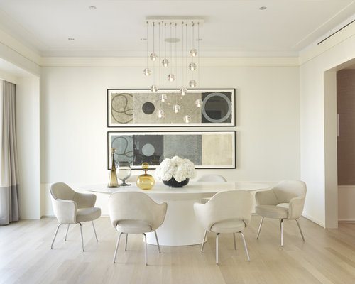 mid sized contemporary enclosed dining room idea in other with white walls light hardwood - Art Dining Room Furniture