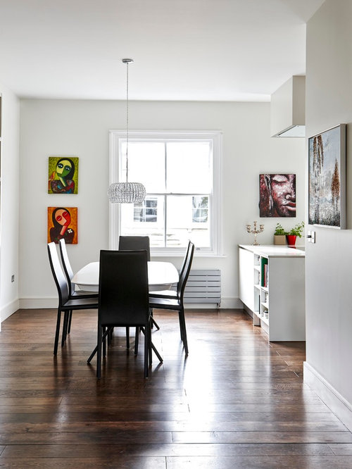 Design Ideas For A Large Modern Open Plan Dining Room In London With White Walls And