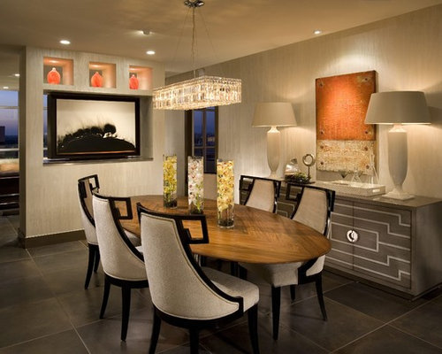 Example Of A Trendy Dining Room Design In Orange County With Beige Walls