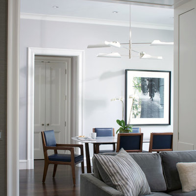 Inspiration for a contemporary dining room remodel in Chicago with white walls