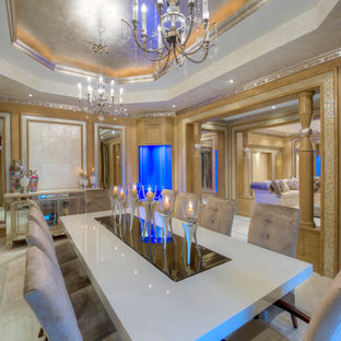 Large trendy porcelain floor and white floor enclosed dining room photo in Miami with multicolored walls