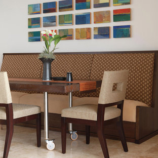 Trendy dining room photo in Hawaii with white walls