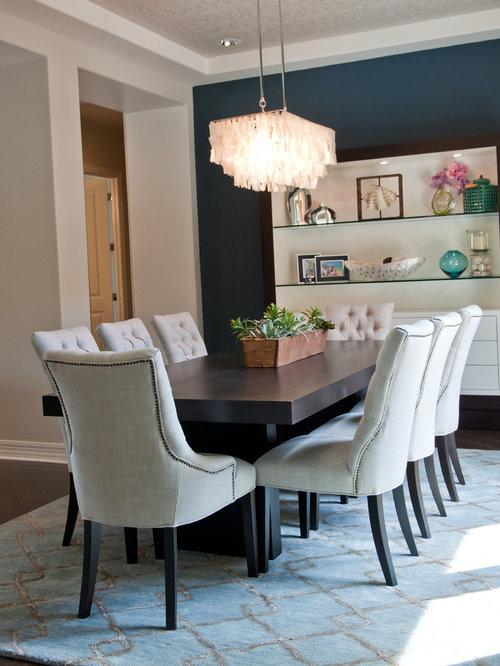 Trendy Dark Wood Floor Dining Room Photo In Phoenix With Blue Walls