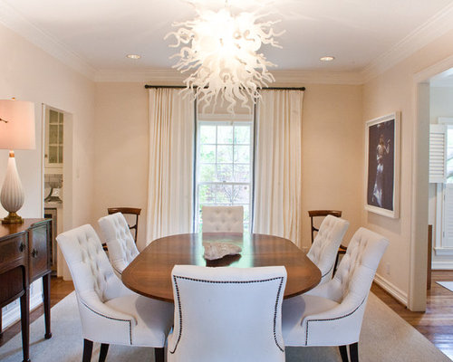 Inspiration For A Contemporary Dark Wood Floor Dining Room Remodel In Dallas With Beige Walls