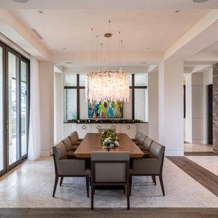 Trendy Beige Floor Great Room Photo In New York With No Fireplace
