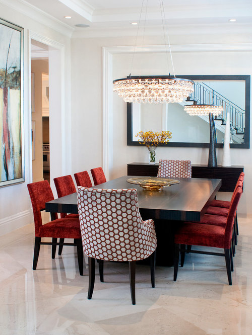 Example of a trendy dining room design in Miami with white walls and marble  floorsRed Dining Chairs   Houzz. Red Dining Chairs And Table. Home Design Ideas