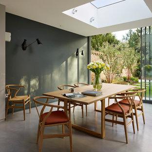 Immagine di una sala da pranzo minimal con pavimento in cemento e pareti grigie
