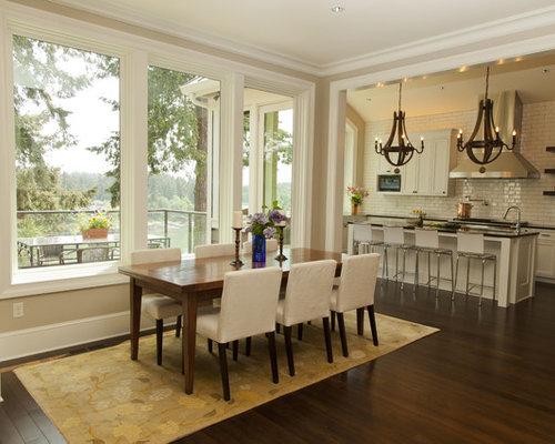 Trendy Dark Wood Floor Kitchen Dining Room Combo Photo In Portland With Beige Walls