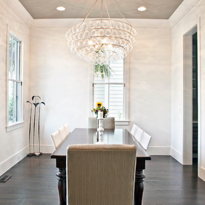 Example of a trendy dark wood floor dining room design in Charleston with white walls