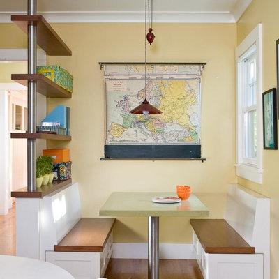 Example of a trendy medium tone wood floor kitchen/dining room combo design in San Francisco