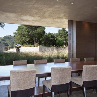 Idee per un'ampia sala da pranzo moderna chiusa con pareti marroni, pavimento in legno massello medio e nessun camino