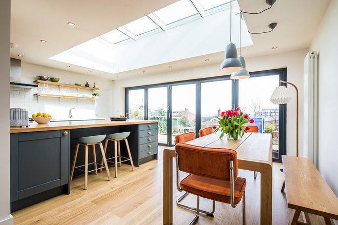 Transitional Dining Room by Sheffield Sustainable Kitchens