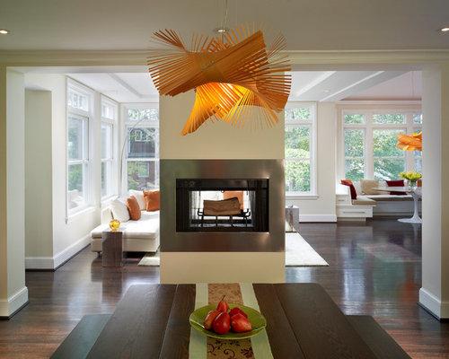 Fotos de comedores | Diseños de comedores con chimenea de doble cara ...