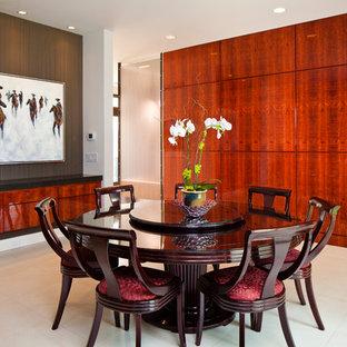 Dining room - beige floor dining room idea in Chicago