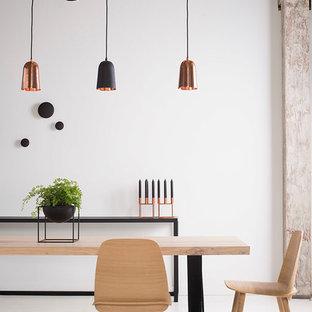 Ispirazione per una grande sala da pranzo industriale con pareti bianche