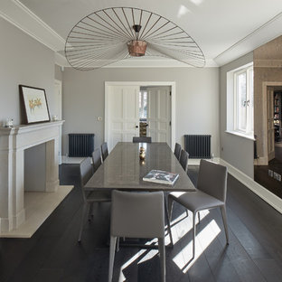 This is an example of a large contemporary dining room in Other with dark hardwood flooring, black floors and grey walls.