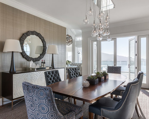 mid sized transitional carpeted enclosed dining room photo in san francisco with gray walls - Carpeted Dining Room