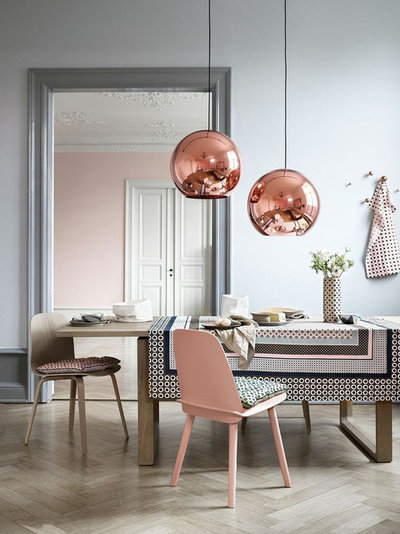 Contemporary Dining Room Copper/Bronze Globe Pendant Lights