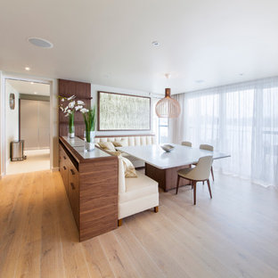 Réalisation d'une salle à manger design avec un mur blanc et un sol en bois clair.