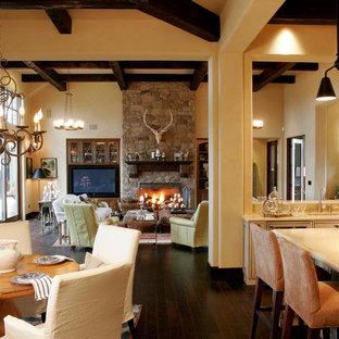 Источник вдохновения для домашнего уюта: гостиная-столовая в классическом стиле с фасадом камина из камня