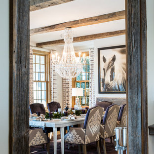 Enclosed dining room - transitional medium tone wood floor enclosed dining room idea in Baltimore with white walls