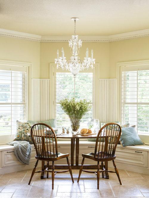 Elegant Porcelain Floor Dining Room Photo In Other With Beige Walls