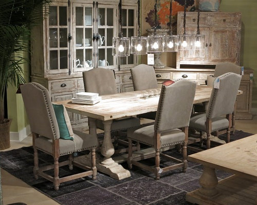 Large Farmhouse Carpeted Kitchen/dining Room Combo Idea In New York With  Beige Walls