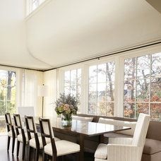 Transitional Dining Room by Michael Abraham Architecture